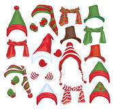 Vector set of hats, scarfs and gloves for design i Royalty Free Stock Images