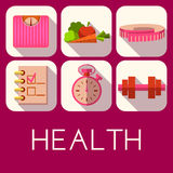 Vector set of health icon in flat style Royalty Free Stock Image