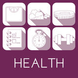Vector set of health icon in flat style Stock Photo