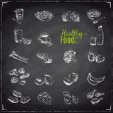 Vector set of healthy food. stock illustration