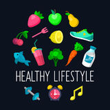 Vector set of Healthy lifestyle icons in trendy flat style. Vector set of Healthy lifestyle icons in trendy flat style Royalty Free Stock Images