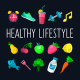 Vector set of Healthy lifestyle icons in trendy flat style. Vector set of Healthy lifestyle icons in trendy flat style Royalty Free Stock Image