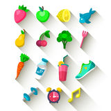 Vector set of Healthy lifestyle icons in trendy flat style with long shadow effect. Vector set of Healthy lifestyle icons in trendy flat style with long shadow Stock Images