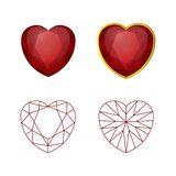 Vector collection of heart form rubies on white background. Vector set of heart form rubies on white background royalty free illustration