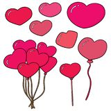 Vector set of heart. Hand drawn cartoon, doodle illustration royalty free illustration
