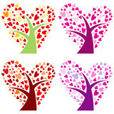 Vector set of heart-shaped trees Stock Image
