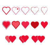 Vector set of Heart shapes. Red and pink isolated symbols Royalty Free Stock Image