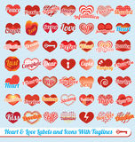 Vector Set: Heart with Tag Lines Labels. Collection of heart labels and icons with tag lines Stock Images