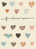 Vector set of hearts and I love you text. A set of hearts for the St. Valentines Day Stock Illustration