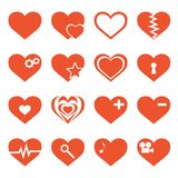 Vector set of hearts icons. Set of 16 different hearts vector icons on white background. Elements for web design royalty free illustration