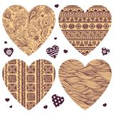 Vector set of hearts with ornaments Royalty Free Stock Photos