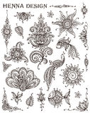 Vector Set of henna floral and animal elements  Royalty Free Stock Images