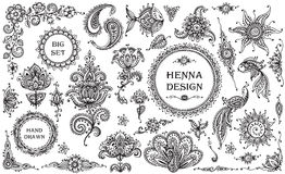 Vector Set of henna floral and animal elements Stock Image