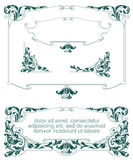 Vector set. Heraldic frame with plants, weapon and shield Royalty Free Stock Photography