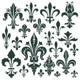 Vector set heraldic lily for decoration and design Stock Photos