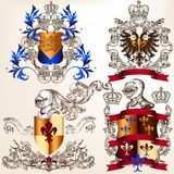 Vector set of heraldic shields in vintage style Stock Images