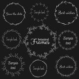 Vector set of herbal frames. Hand drawn design elements. Royalty Free Stock Image