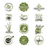 Vector set of herbs and spices labels, badges Stock Photo