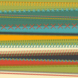 Vector set of high detailed seams. Various sewing design elements  on textile background. All used pattern brushes included Stock Images