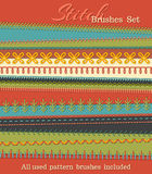 Vector set of high detailed stitch brushes. Sewing design elements, seams, textile borders, decorations and dividers on textile background. All used pattern Royalty Free Illustration