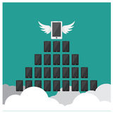 Vector set Higher business Phone Boss vision clouds flight wings, so Stock Photography