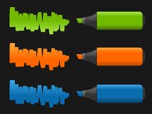 Vector set of highlighter pens Royalty Free Stock Image