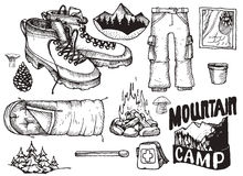 Vector set of highly detailed hand drawn camping stuff. Vintage signs collection. Stock Image