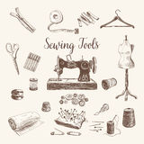 Vector set of highly detailed hand drawn sewing Royalty Free Stock Photography