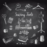 Vector set of highly detailed hand drawn sewing Stock Image