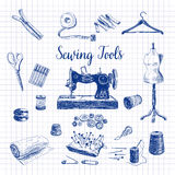 Vector set of highly detailed hand drawn sewing Stock Photography