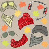 Vector set hipster autumn accessories Stock Photo