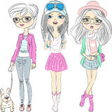 Vector set hipster fashionable girls Stock Images