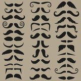 Vector set of hipster mustache. Black silhouette. Easy for edit. Royalty Free Stock Images