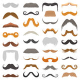 Vector set of hipster retro hair style mustache vintage old shave male facial beard haircut  illustration Stock Image