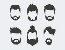 Vector set of hipster retro hair style mustache vintage old shave male facial beard haircut isolated illustration Royalty Free Stock Photography