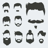 Vector set of hipster retro hair style mustache vintage old shave male facial beard haircut isolated illustration Royalty Free Stock Photos