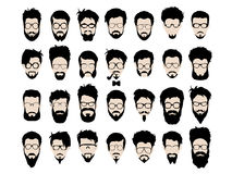 Vector set of hipster style haircut, glasses Royalty Free Stock Image