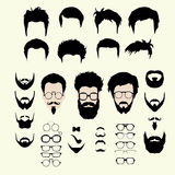 Vector set of hipster style haircut, glasses. Vector set of dress up constructor. Different men faces hipster geek style haircut, glasses, beard, mustache stock illustration
