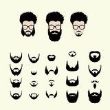 Vector set of hipster style haircut, glasses Royalty Free Stock Images
