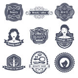 Vector set of hipster woman logo of beauty salon or vintage shop. Retro icons collection in flat style. Stock Image