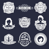 Vector set of hipster woman logo of beauty salon or vintage shop. Retro icons collection in flat style. Stock Photo