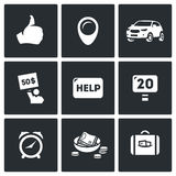 Vector Set of Hitchhiking tourism Icons Royalty Free Stock Images