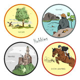 Vector set of hobbies, travel, sport, fishing, nature. Hand drawn stickers, labels, emblems and illustrations Royalty Free Stock Photo
