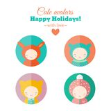 Vector set of holiday carnival avatars. Set of Christmas carnival avatars. Childish characters for web and mobile app design. Vector icons royalty free illustration