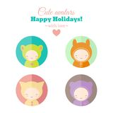 Vector set of holiday carnival avatars. Set of cute holiday carnival avatars. Vector icons. Childish characters for web and mobile app design royalty free illustration