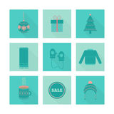 Vector set of holiday Christmas icons in flat style royalty free illustration