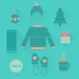 Vector set of holiday Christmas icons in flat style. Christmas icons, objects vector set in flat style with long shadow. Clothing, gift, Christmas tree, cup, toy vector illustration