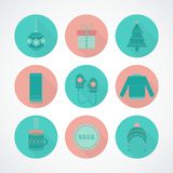 Vector set of holiday Christmas icons in flat style. Christmas round icons vector set in flat style with long shadow. Clothing, gift, Christmas tree, cup, toy royalty free illustration