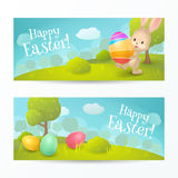 """Vector set of holiday horizontal banners with text """"Happy Easter!"""". Vector set of holiday horizontal banners with text """"Happy Easter!"""". Cartoon Royalty Free Stock Photography"""