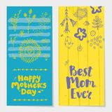 Vector set of holiday spring vertical cards, banners with brush pen lettering and doodle flowers. Stock Photography
